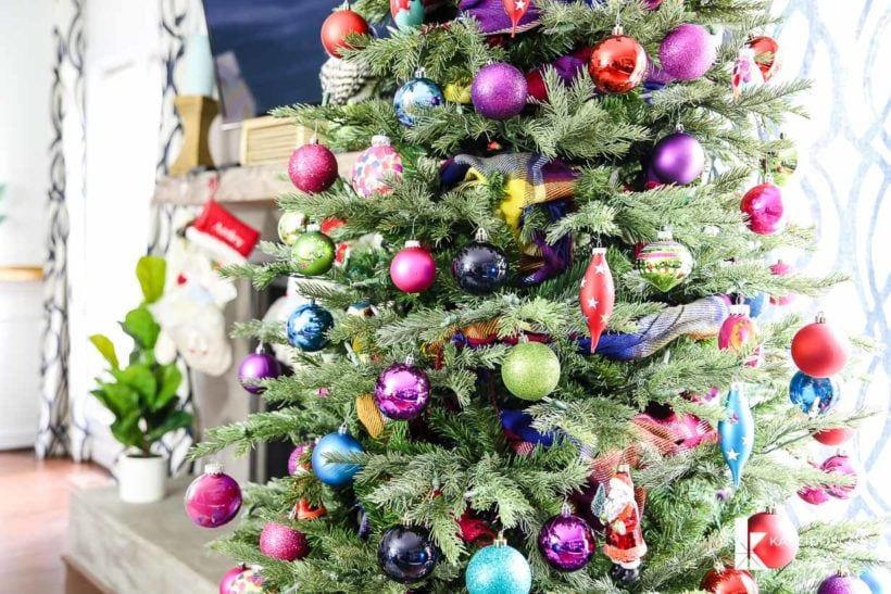 bold and bright Christmas tree with colorful ornaments