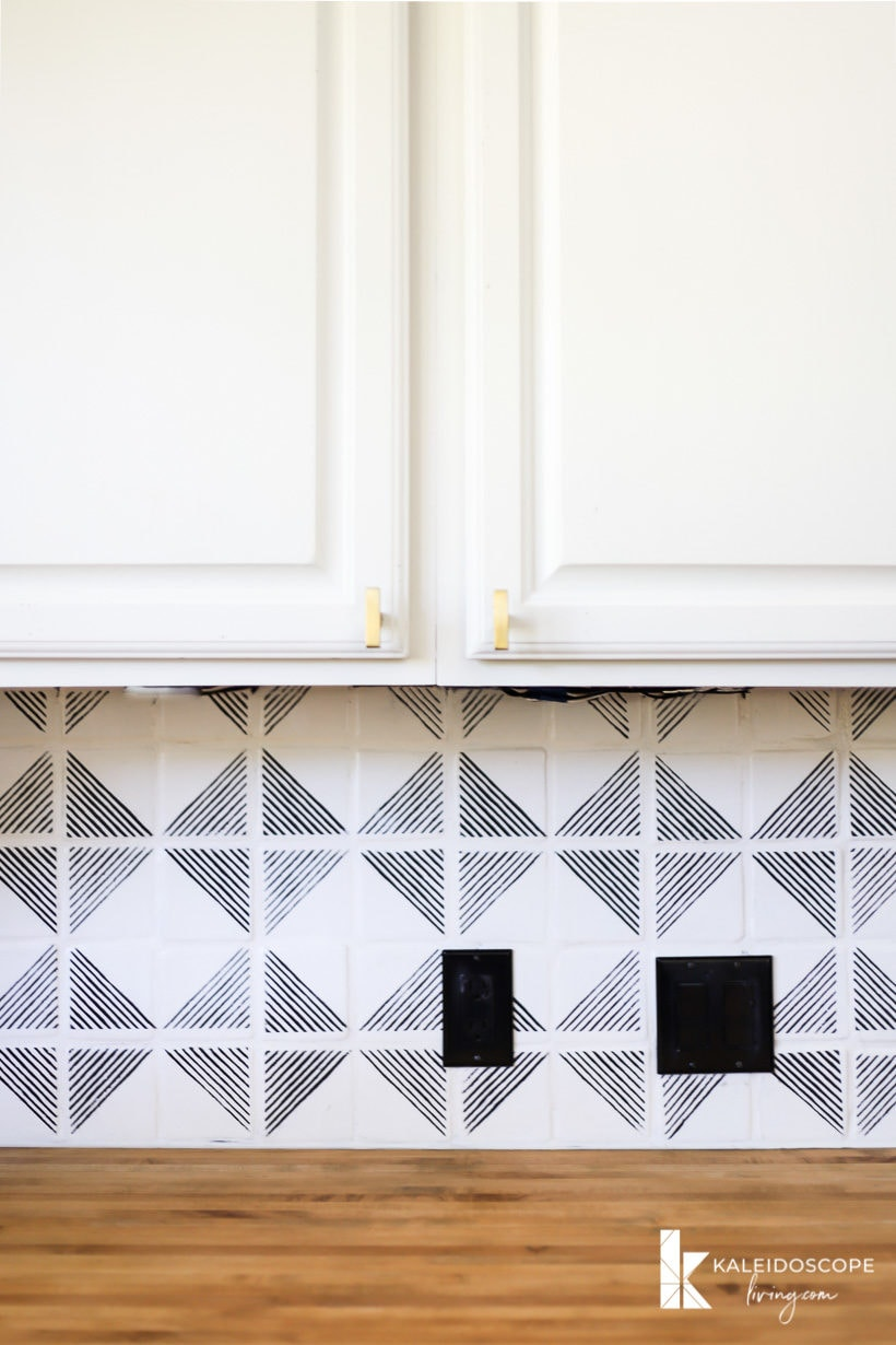 how to paint a tile backsplash and stencil it