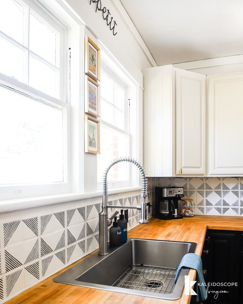 painted tile backsplash