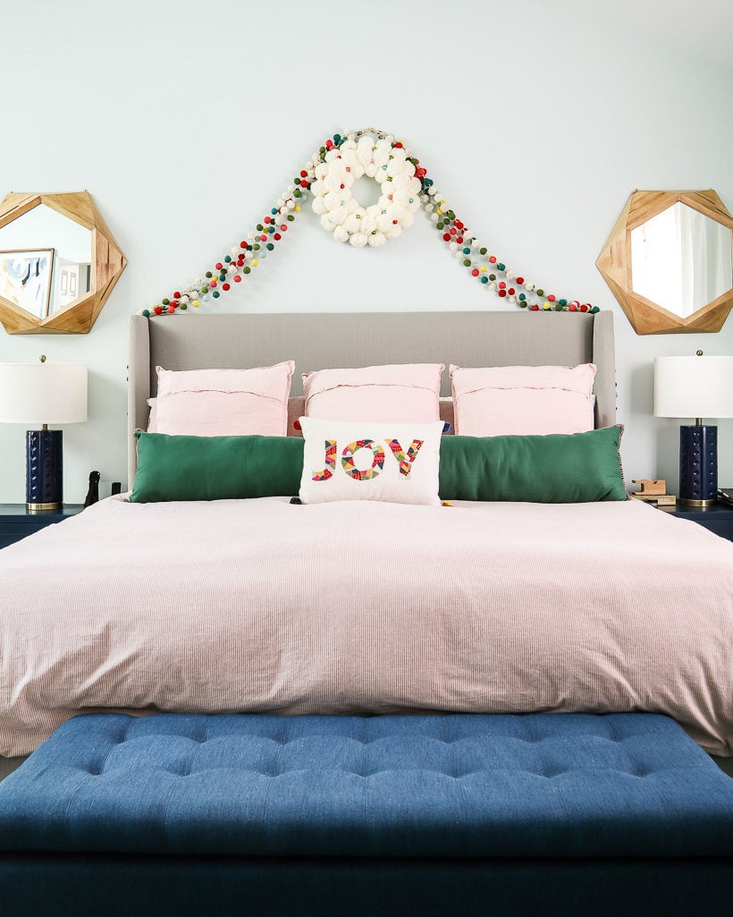 master bedroom with colorful christmas decorations