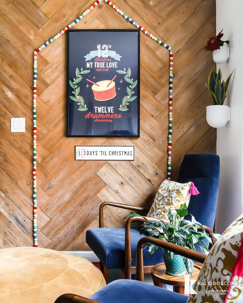 small seating area with colorful christmas decor