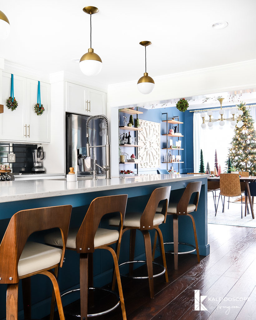 colorful christmas decorations in kitchen and dining room