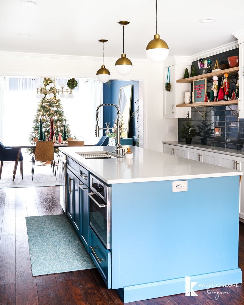 colorful kitchen decorated for Christmas