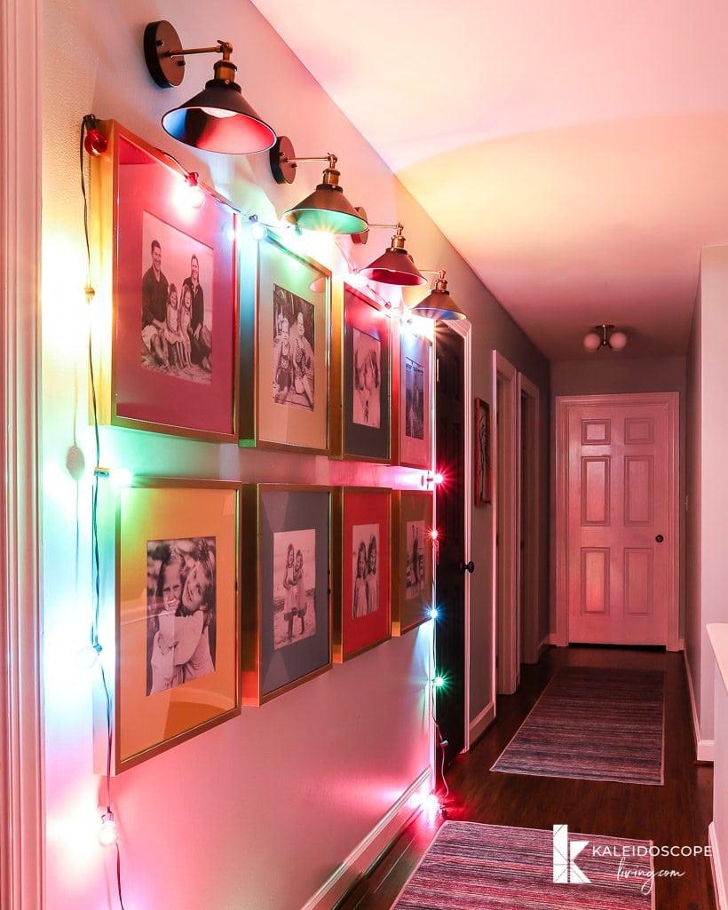 hallway with colorful christmas lights
