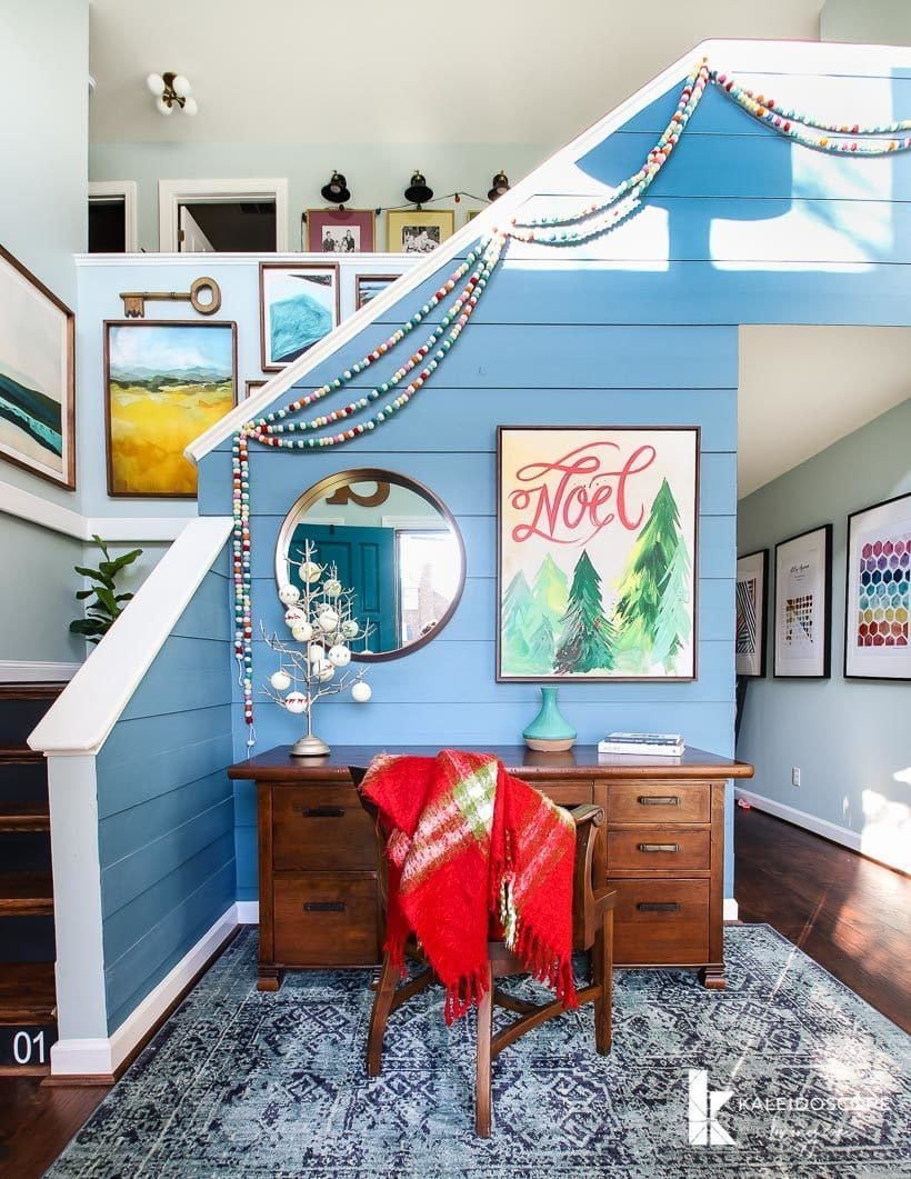 colorful foyer decorated for Christmas
