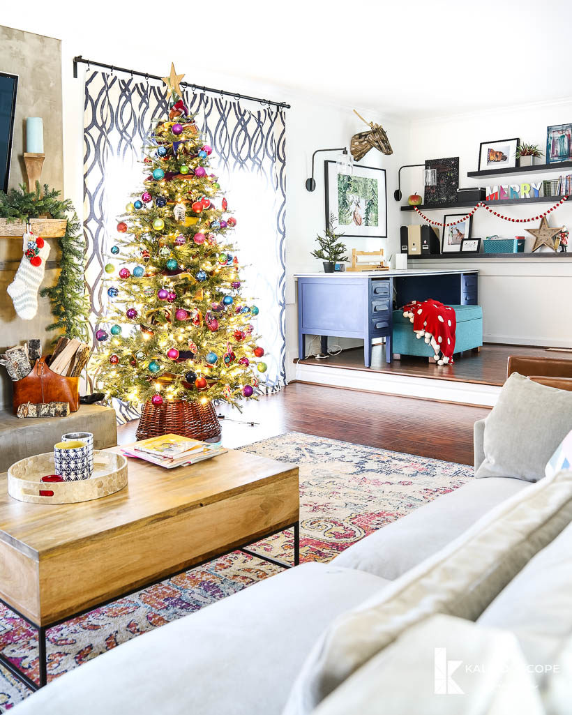 colorful christmas decor in family room