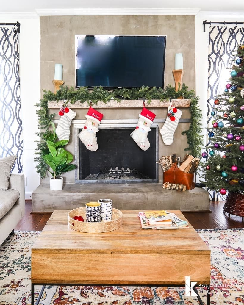 concrete fireplace decorate for christmas