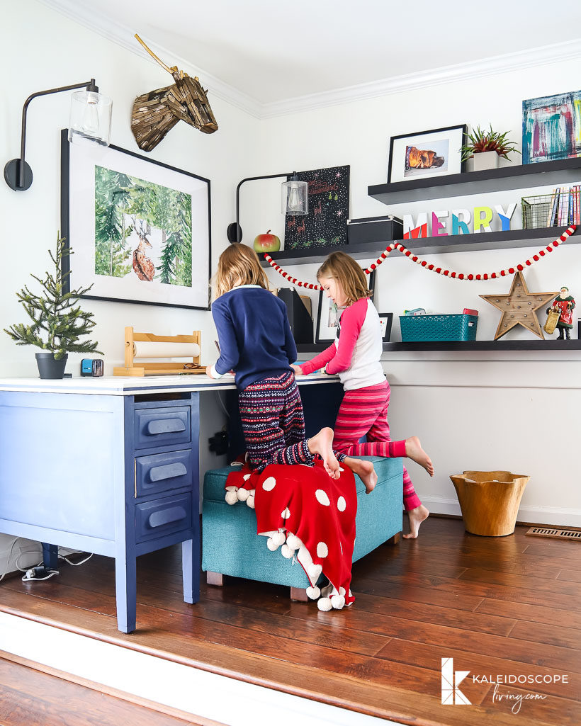 colorful christmas decor in kids' play area