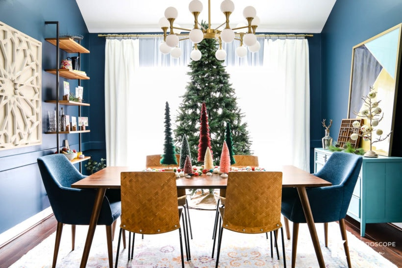 mid-century modern dining room decorated for Christmas