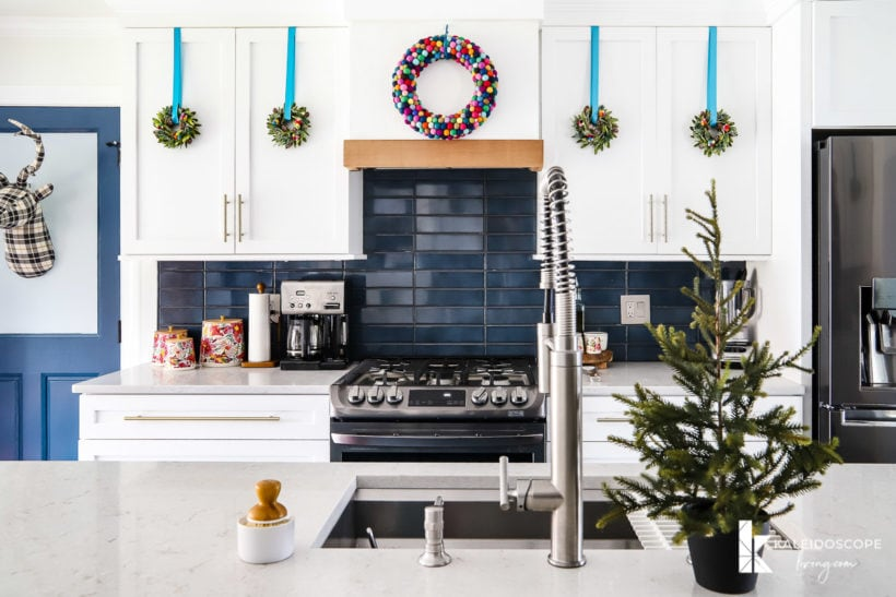 colorful Christmas decorations in kitchen