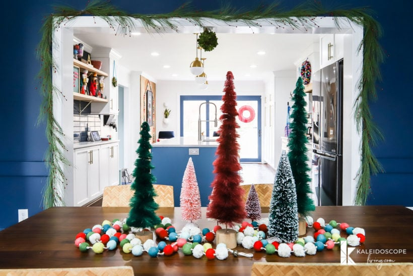 colorful Christmas home dining room