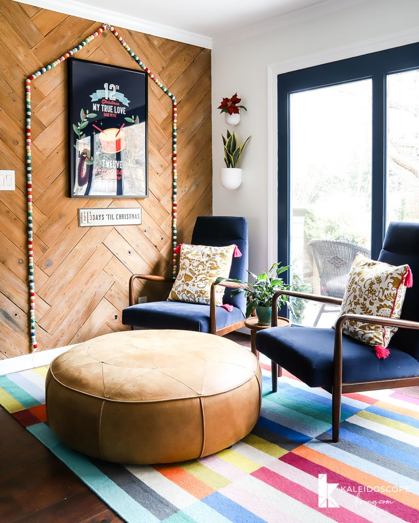 colorful seating area decorated for christmas