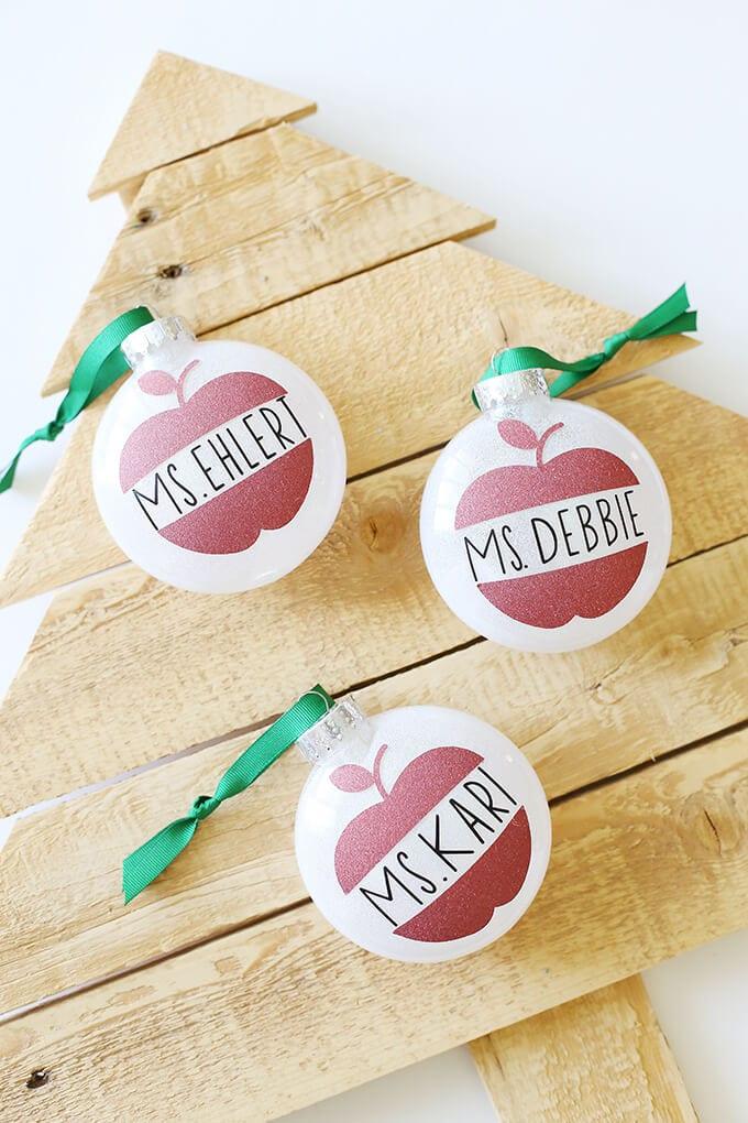 cricut glitter apple ornaments