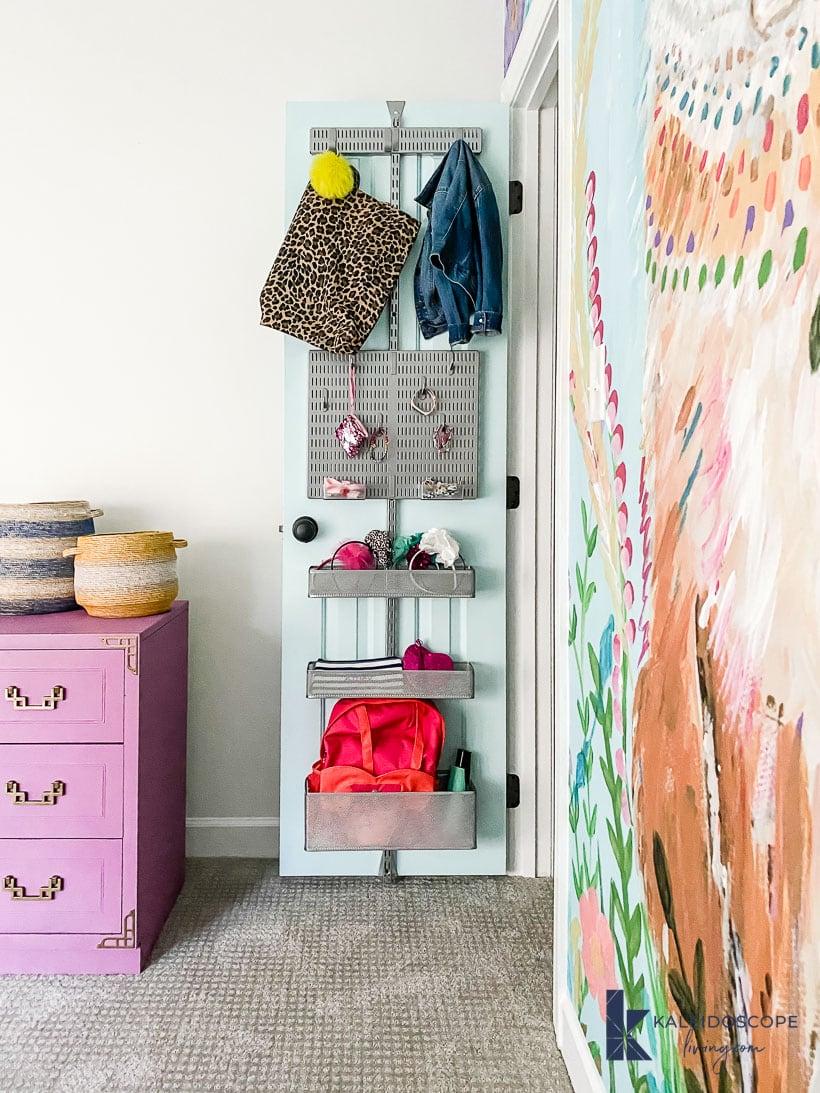 kid's room organization with back of door storage
