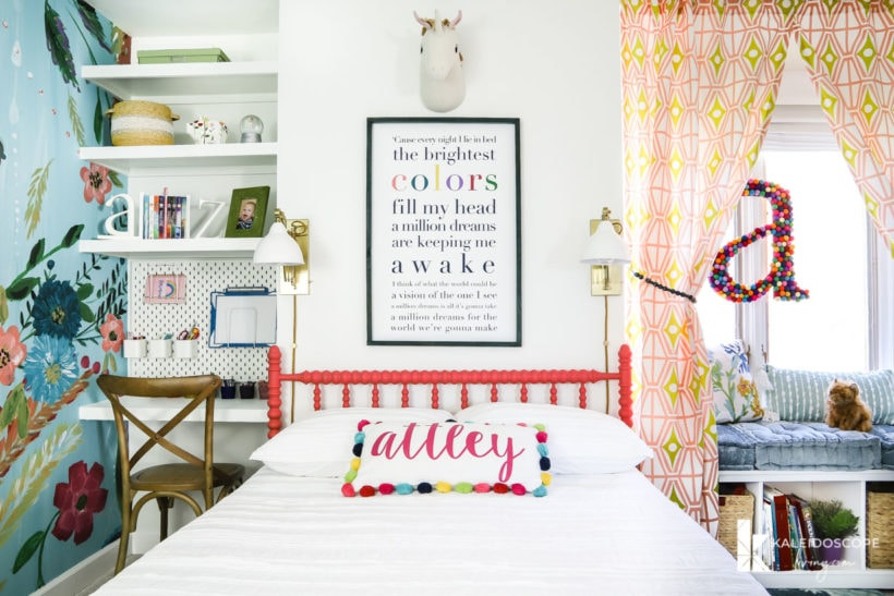 colorful girl's bedroom reveal