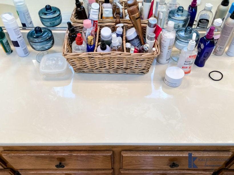 disorganized bathroom countertop