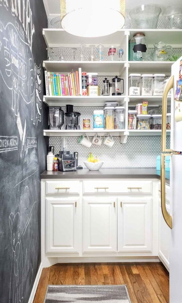pantry with tile and chalkboard