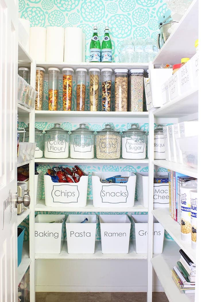 organized pantry with wallpaper