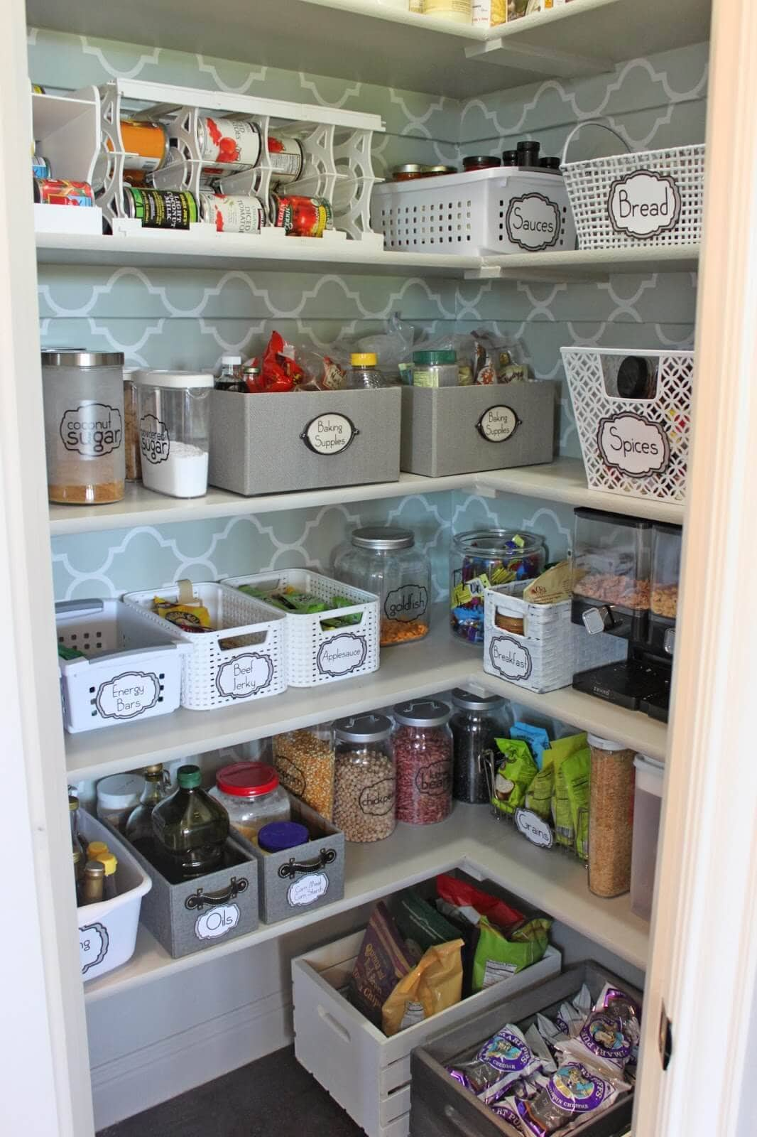 organized pantry with wall paper