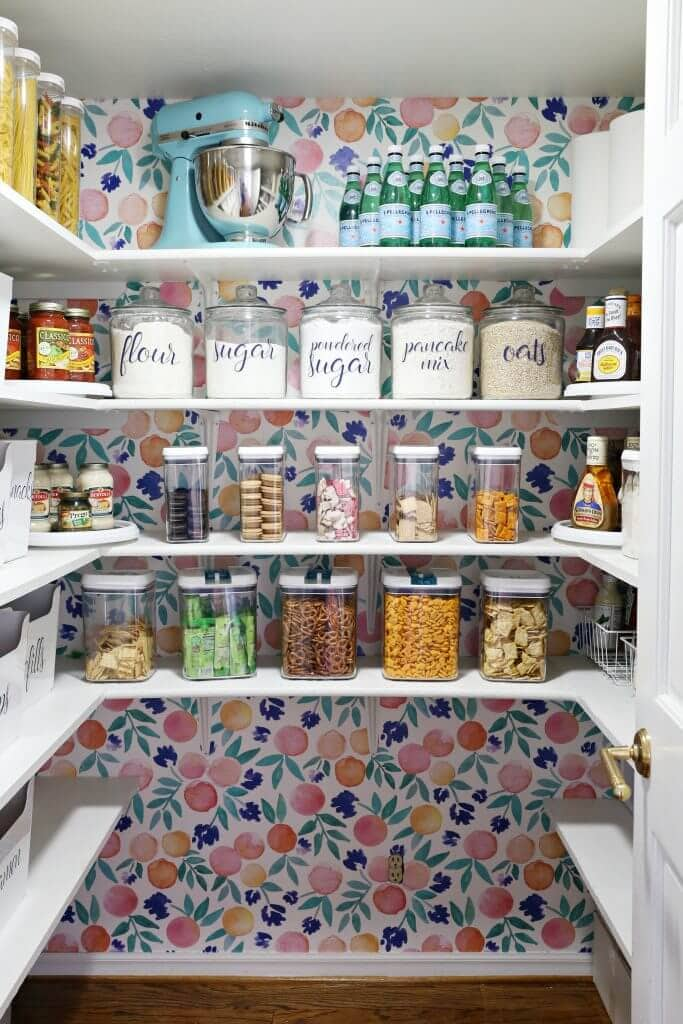 bright colored wallpaper in pantry