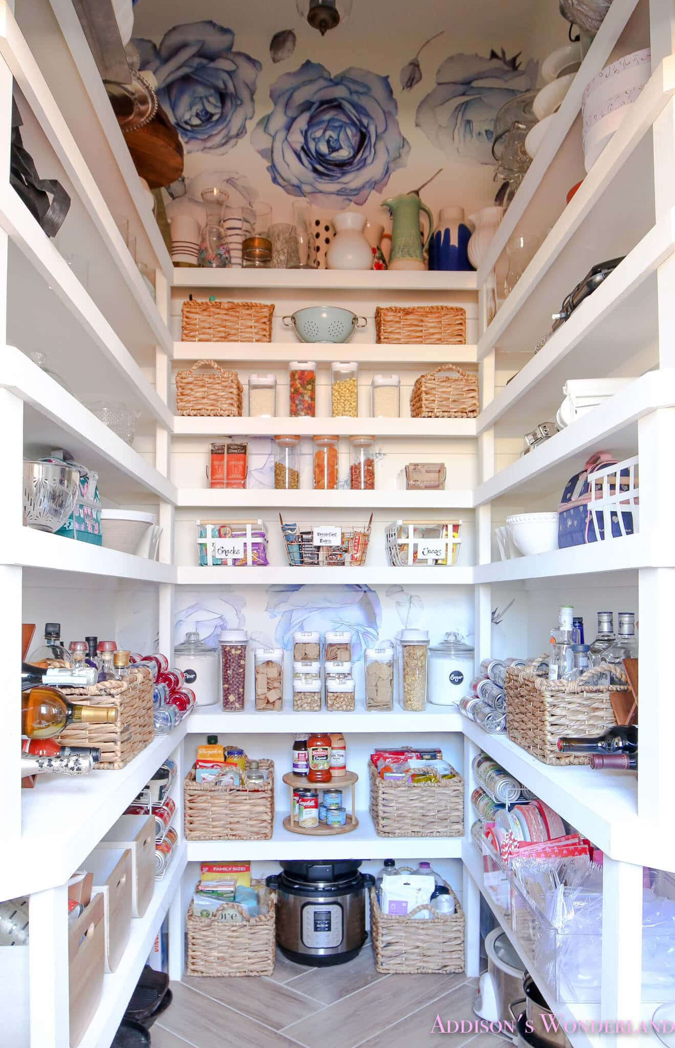 organized pantry with wallpaper ceiling