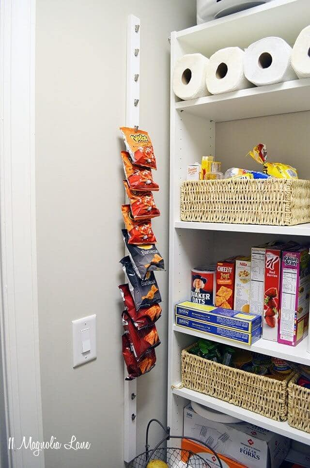 neat pantry with chip organization