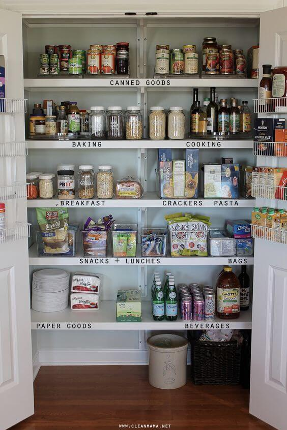 pantry with labeled shelves