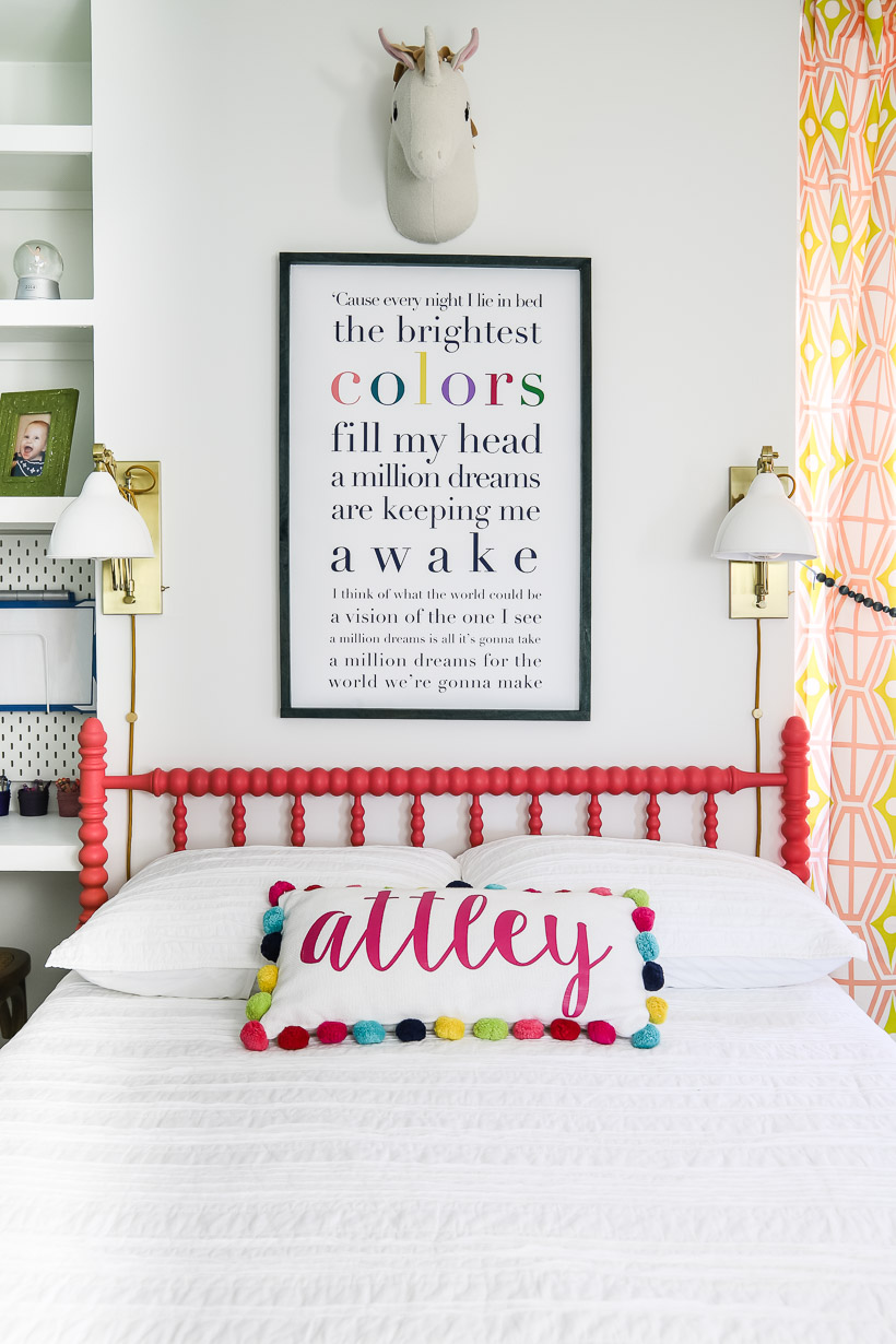 jenny lind bed in colorful girl's bedroom