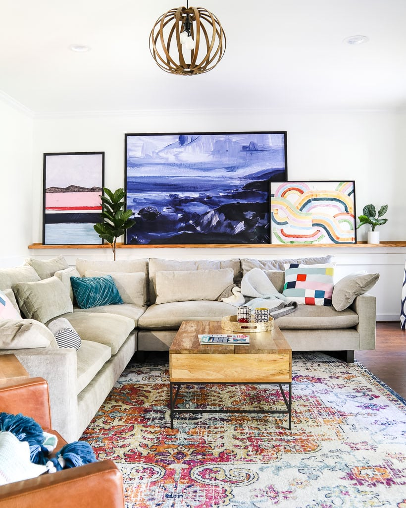 colorful family room rug