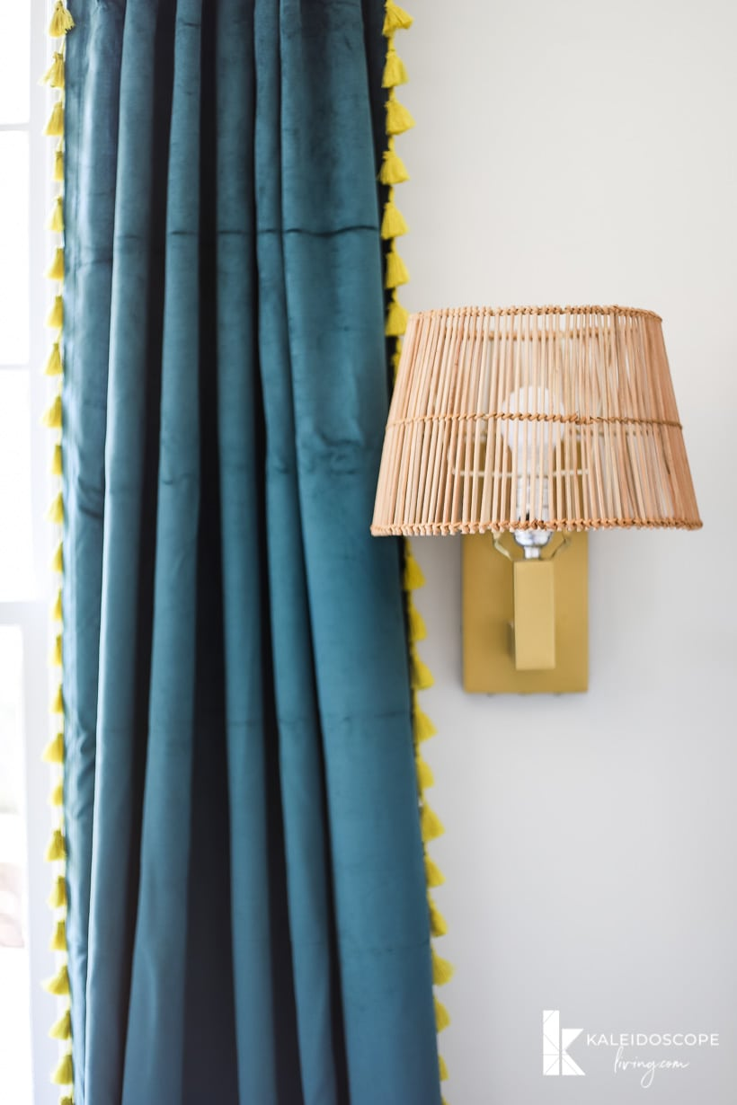 boho curtains and sconce
