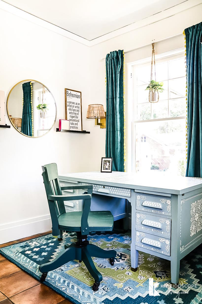 eclectic office with stenciled desk