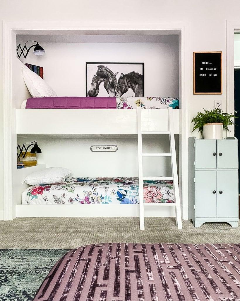 built-in bunk beds in girl's room