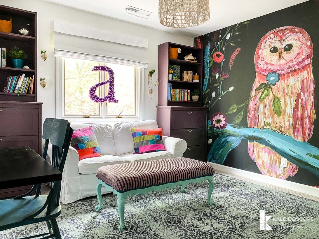 colorful girl's room with mural