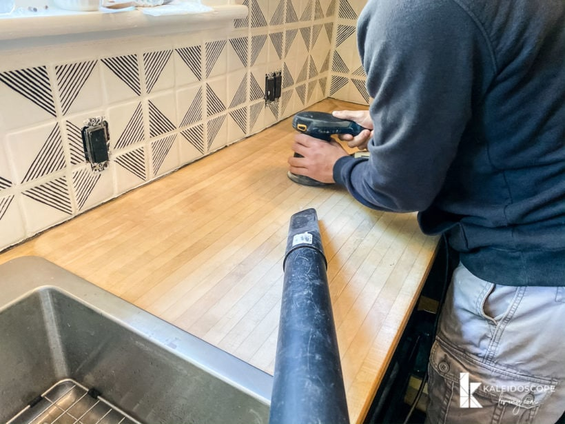sanding butcher block countertops