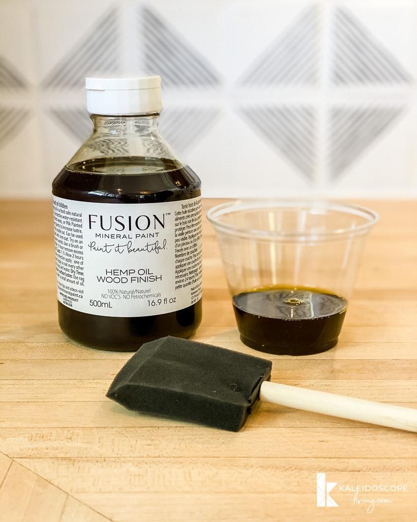 hemp oil and sponge brush