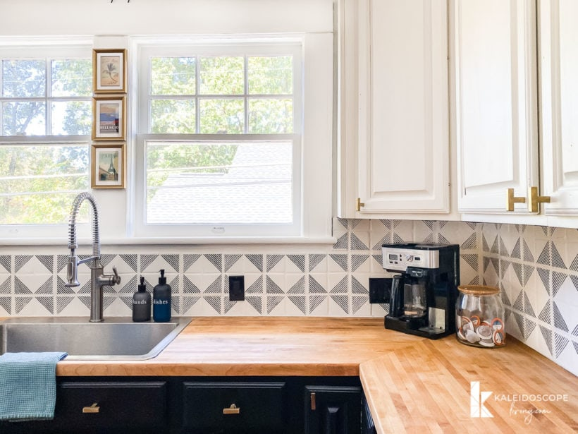 renovated kitchen with restored butcher block countertops