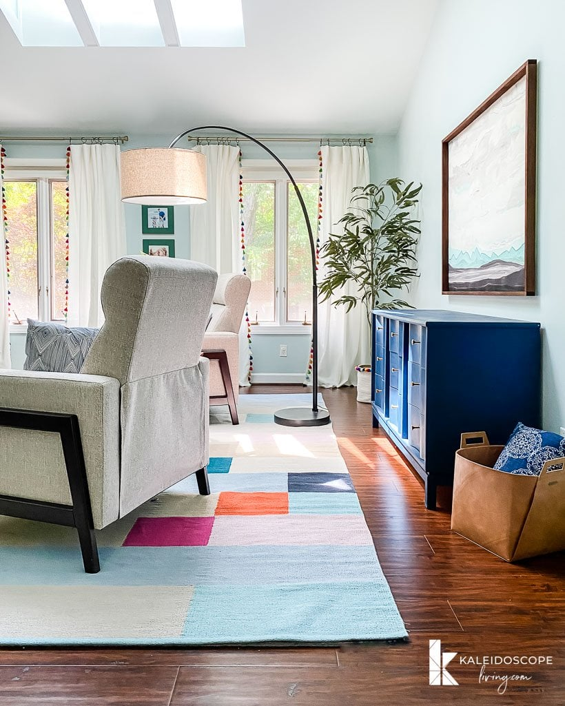 colorful seating area in bedroom