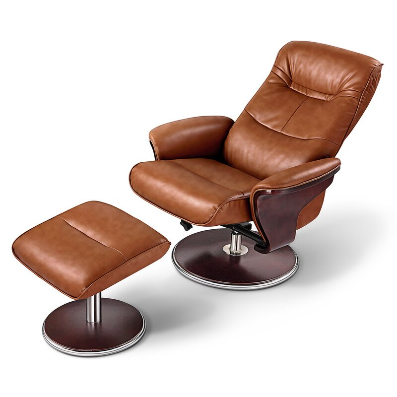 swivel modern recliner and ottoman