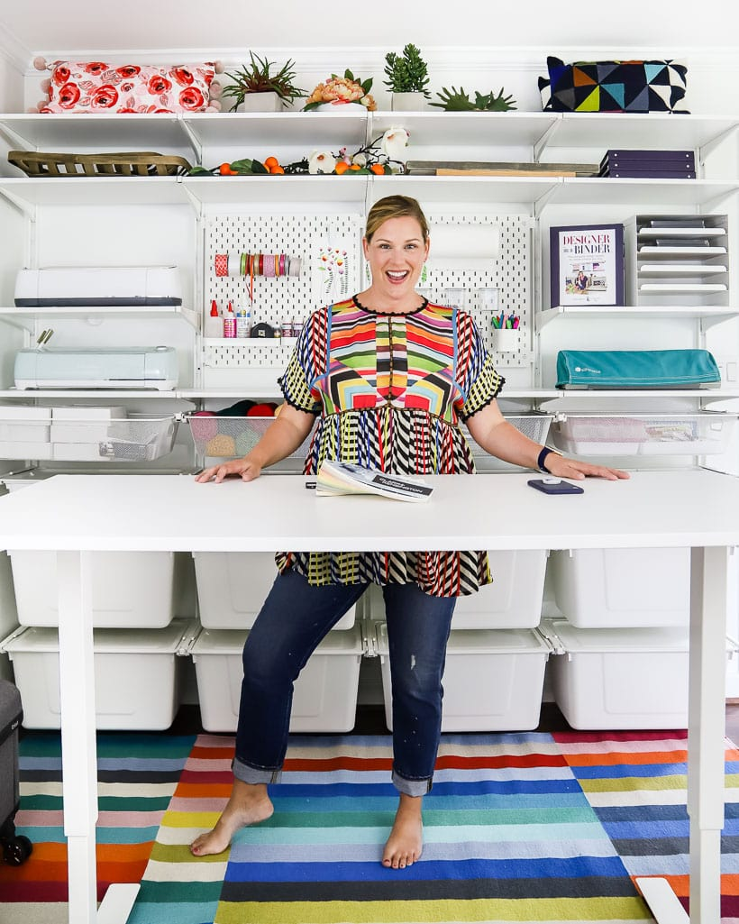 organized craft room with modern rug