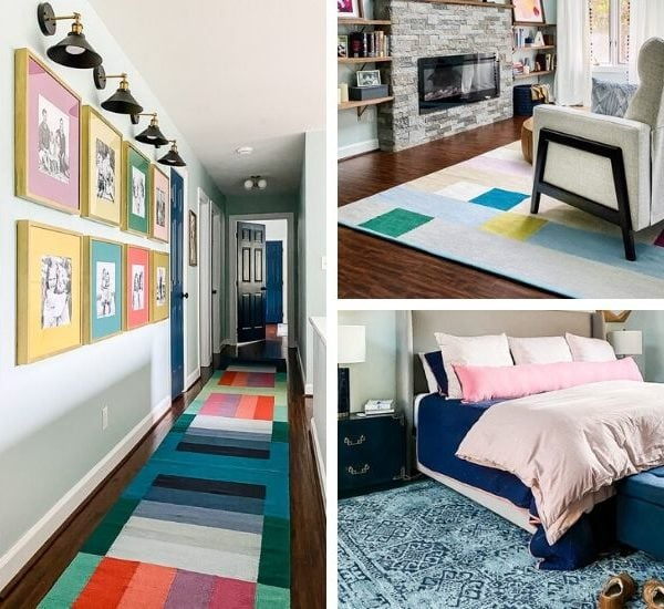 Tour Our Colorful Area Rugs (that all work together in our home)!