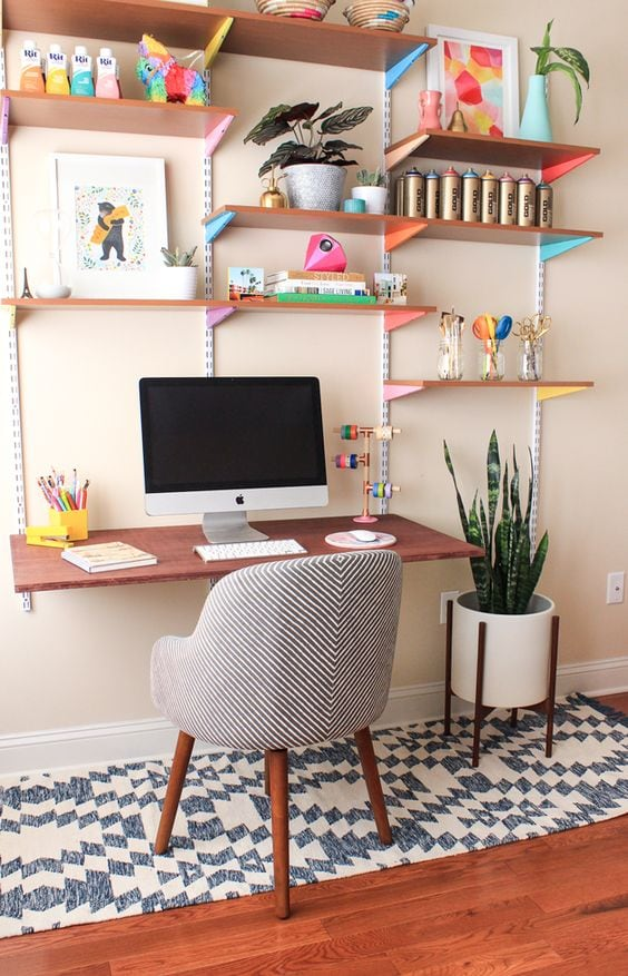office made from wood shelving with bright brackets