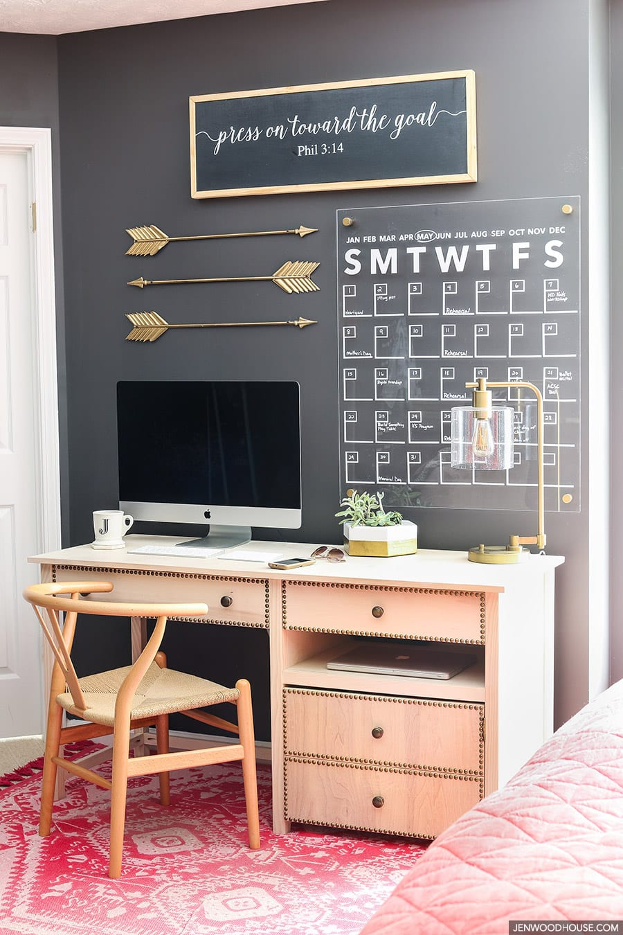 bedroom office space with DIY touches