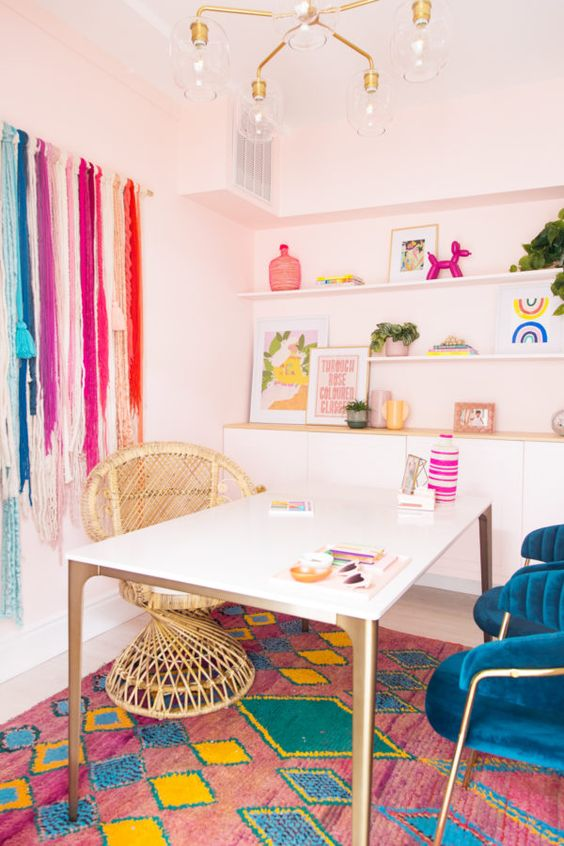 fun and colorful home office