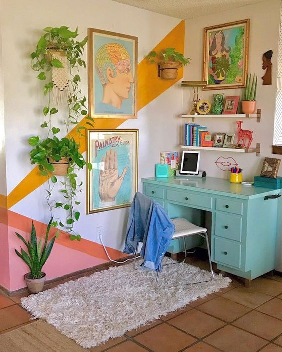 boho office space with wall mural