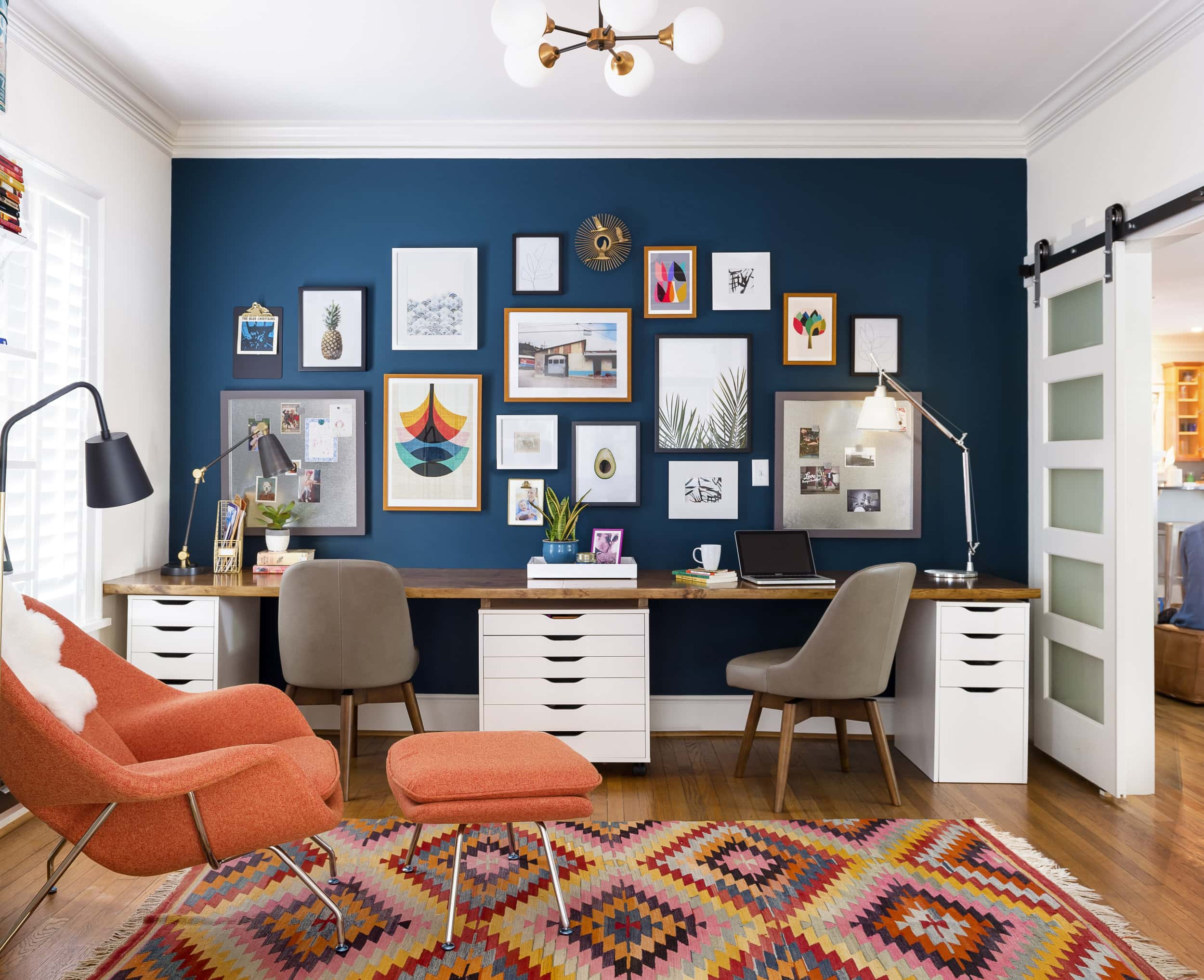 ikea desk with gallery wall and vintage touches