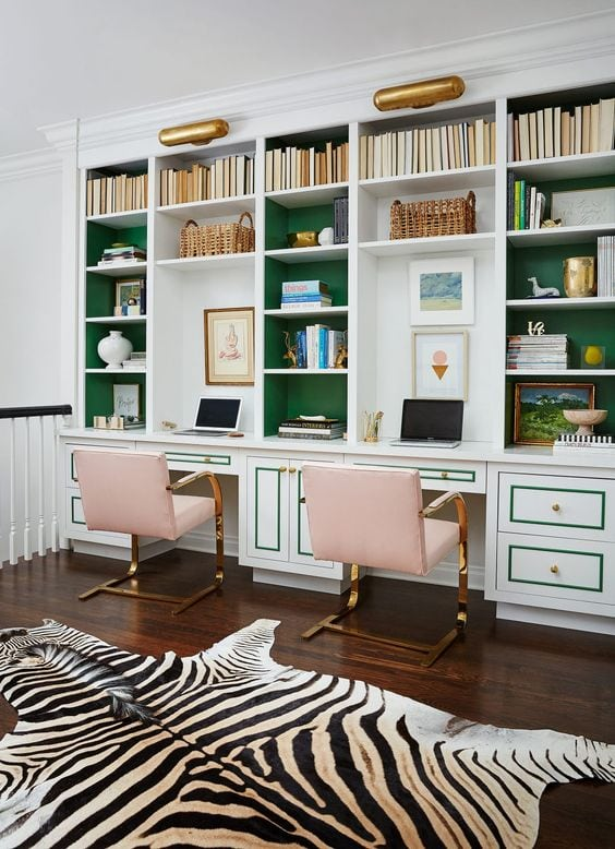 glam double office with built ins