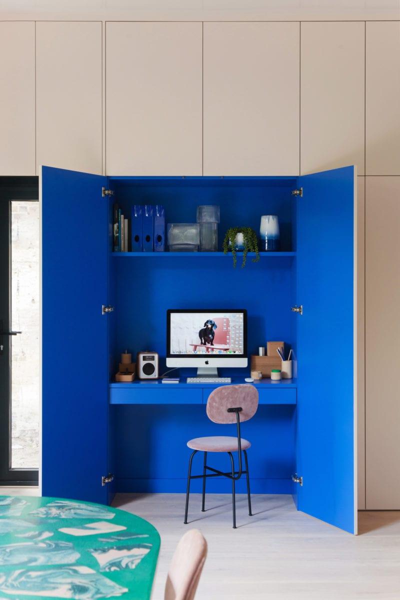 desk in a wardrobe