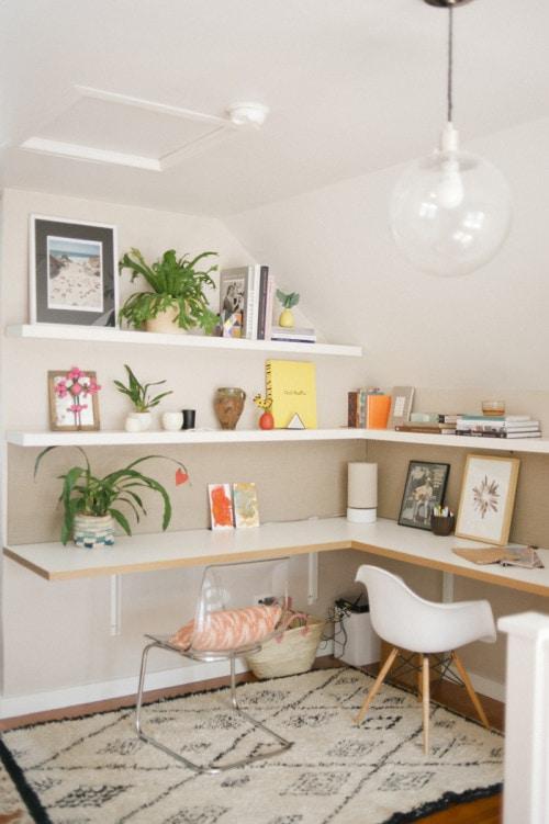 corner office made from shelving