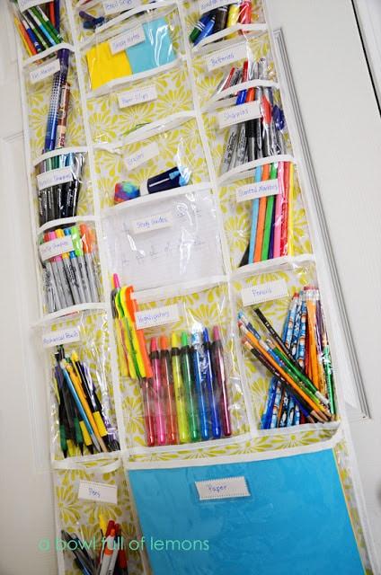 over the door organization for homeschool