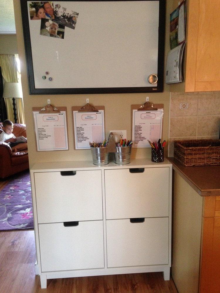 IKEA shoe organizer for homeschool supplies